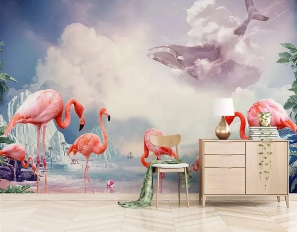 Фламинго принты бесшовные на стену. Красивые обои для жилых и коммерческих помещений. Подбор изображений и материалов.