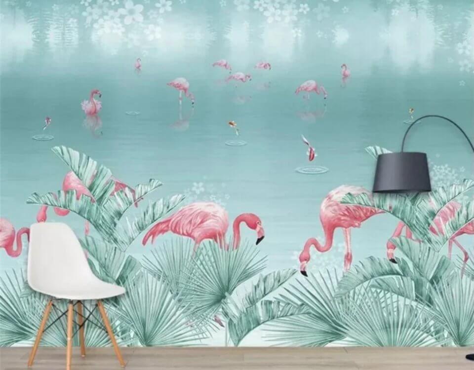 Фламинго обои красивые принты на флизелиновых бесшовных фактурах. Доставка по миру
