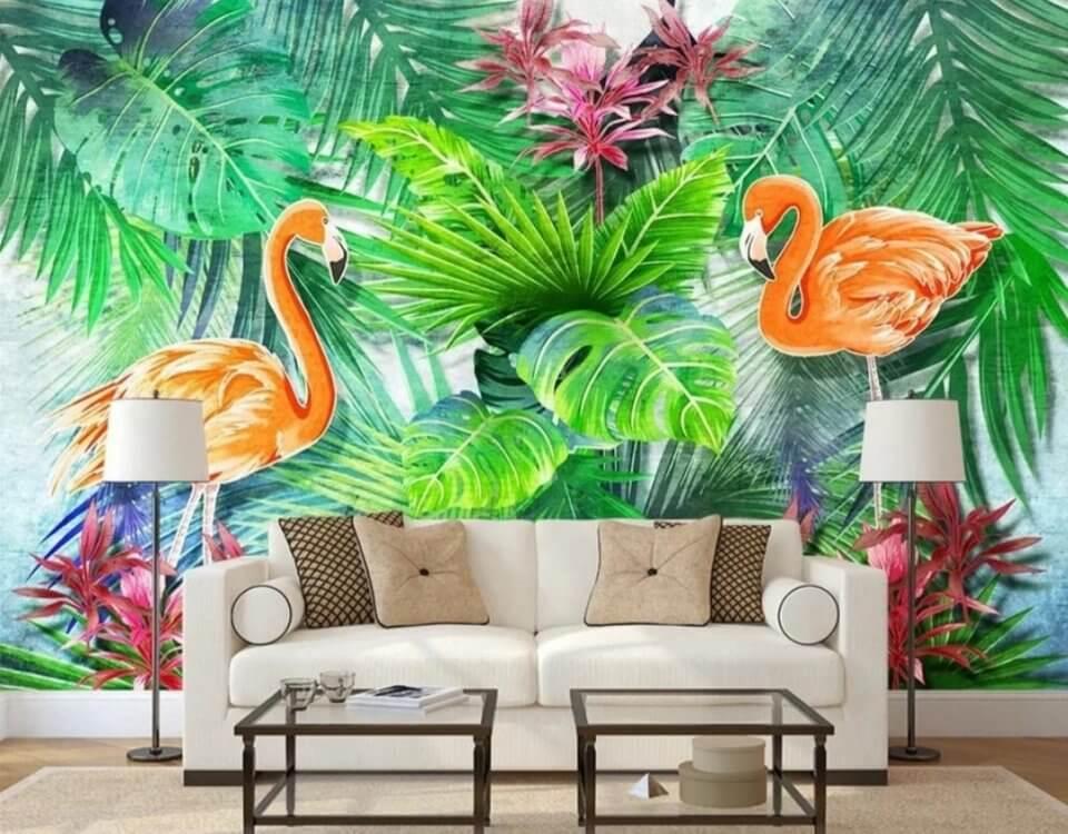 Принт фламинго и тропические листья. Большой выбор бесшовных флизелиновых материалов