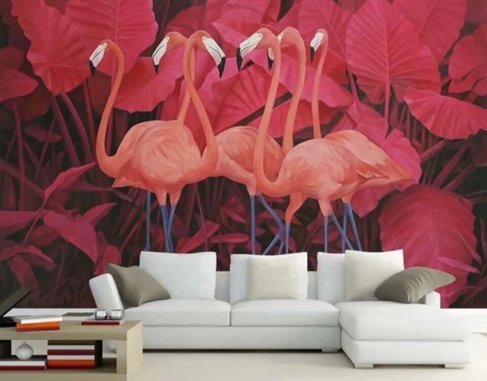 Фламинго и красные цветы богатый и красивый фон. Доставка по миру