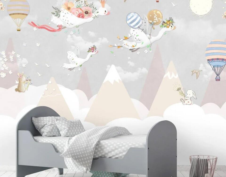 пики гор обои для детей гуси летящие с подарками. воздушные шары на сером фоне