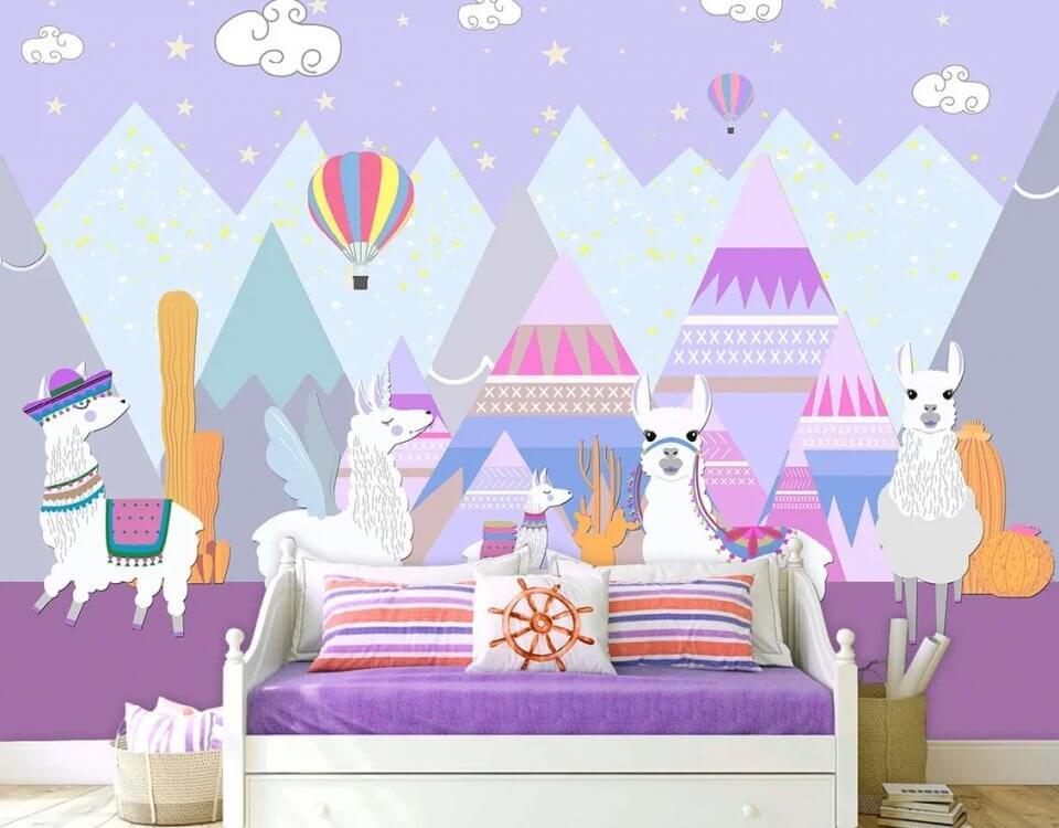детские обои альпаки горы веселый принт для детской комнаты гладкий флизелин