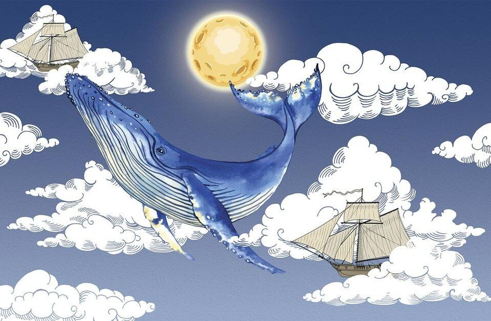 Фотообои кит и облака с кораблем. фотообои синий кит и луна