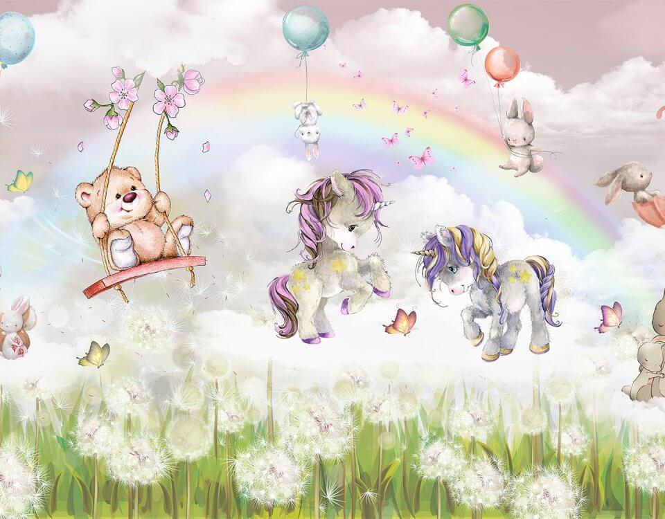 детские обои сказочный единорог и мишка на качелях. радуга и одуванчики на детских принтах