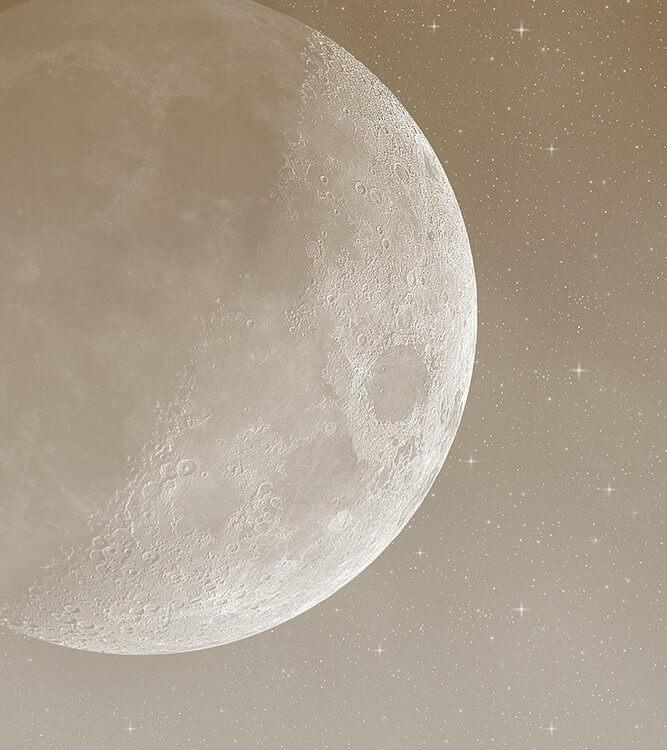 Фотообои луна и звезды на бежевом фоне