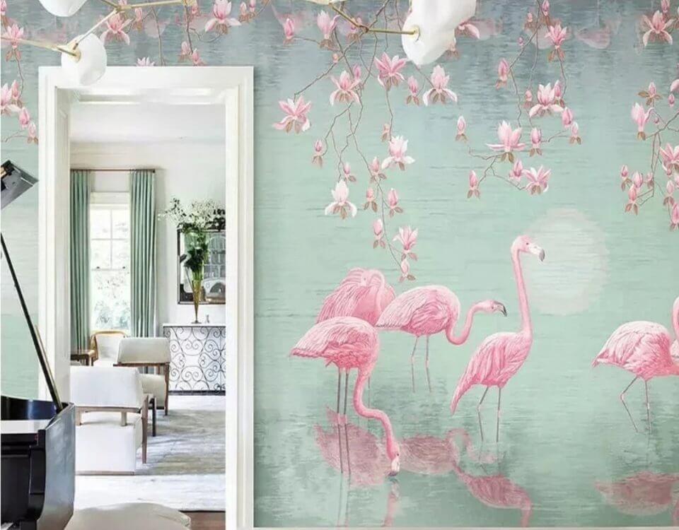 Фламинго фотообои и нежные цветы на стену печать