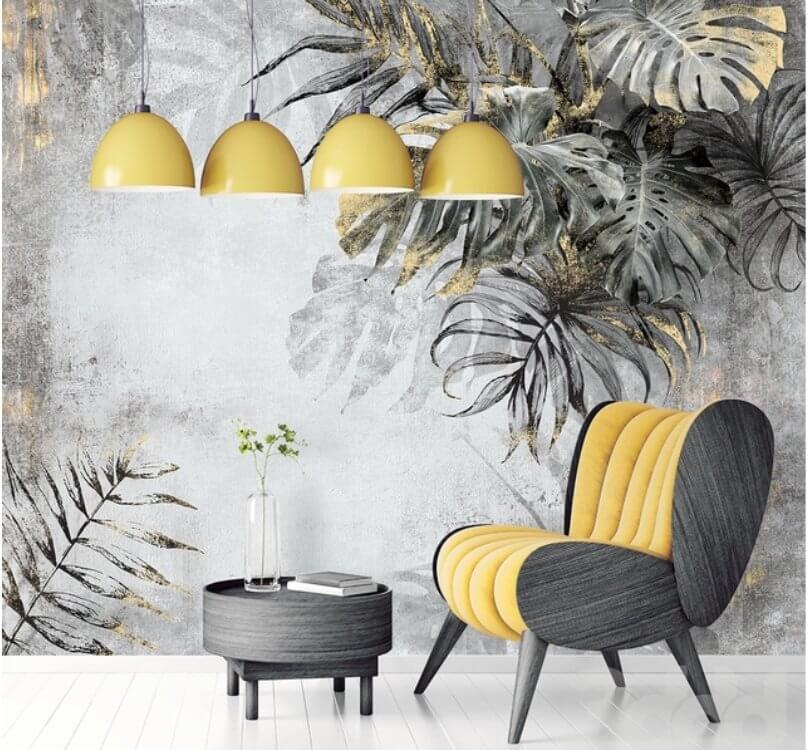 Фотообои пальмовые листья темные с золотыми акцентами