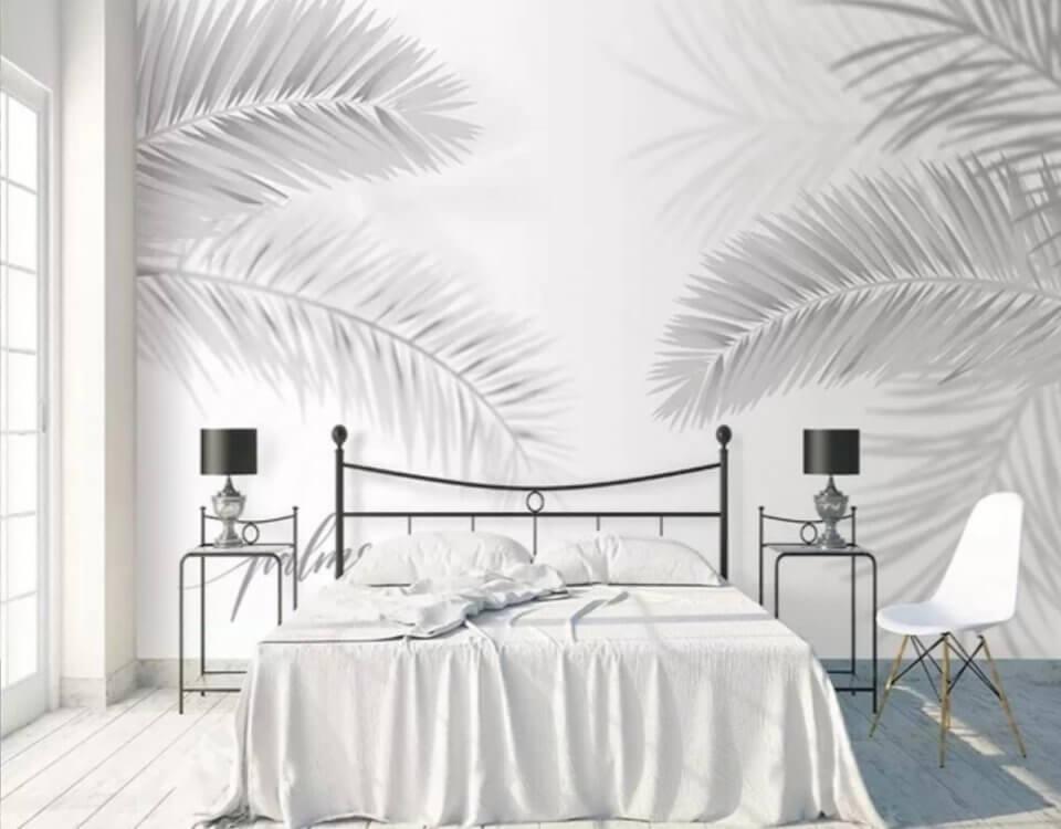 Фотообои пальмовые листья светлый фон бесшовные текстуры