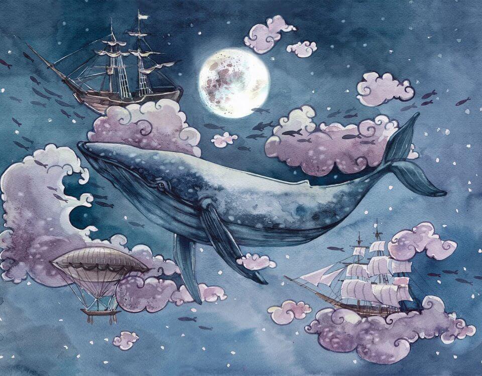 Фотообои кит дирижабль и корабли в небе с розовыми облаками на фоне луны