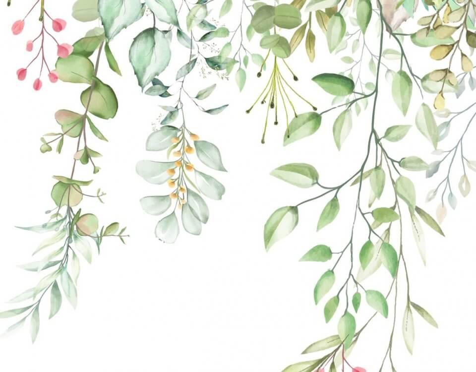 фреска на стену. обои акварельные цветы заказать по своим размерам.