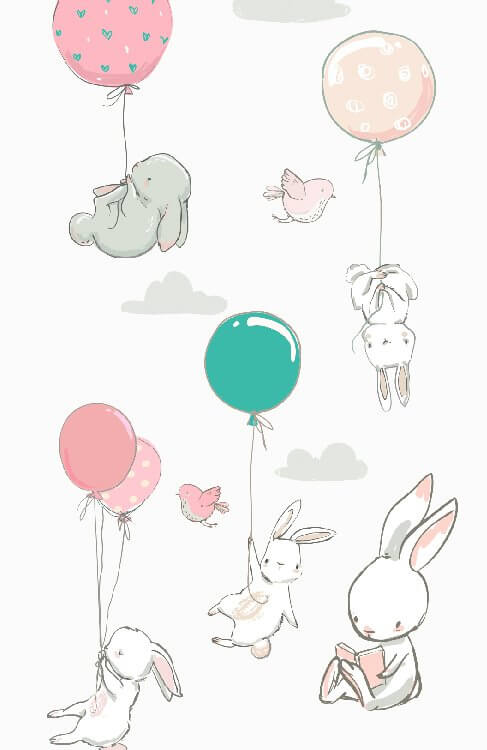 фотообои с кроликами в детскую. фотообои для детей н светлом фоне