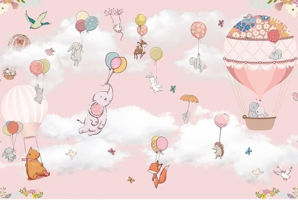 коллекция сказка обои летящие на воздушном шаре зверята на розовом фоне