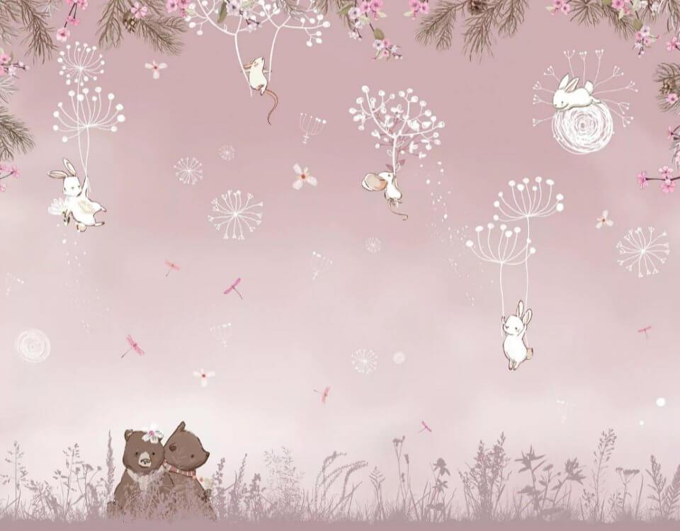 Коллекция обоев Сказка - мишки на поляне и мыщки летящие на одуванчиках