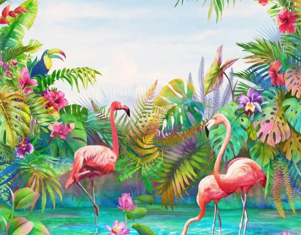 обои с фламинго яркий фон тропических растений
