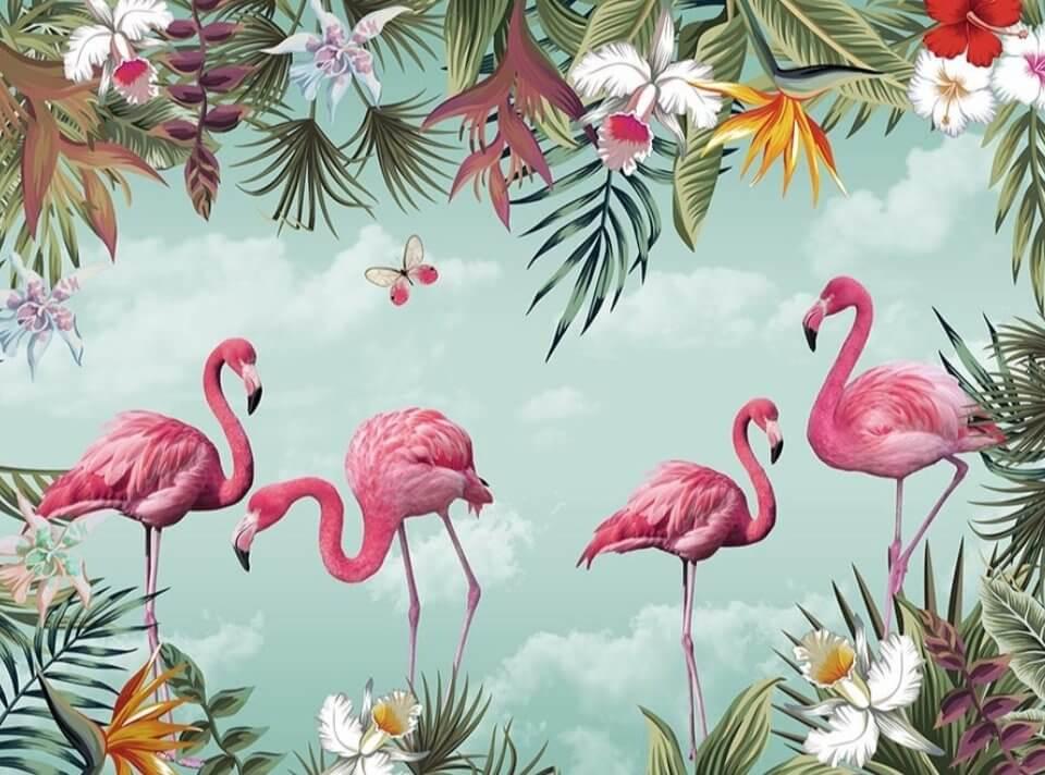 фотообои фламинго в ярких тропических растениях