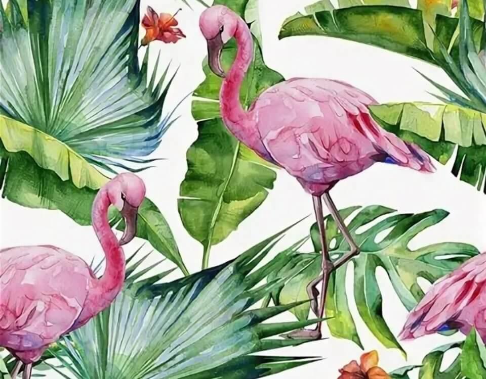 обои фламинго акварельные зеленые листья