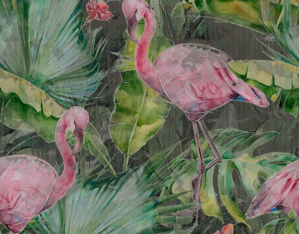 обои фламинго акварельный рисунок.