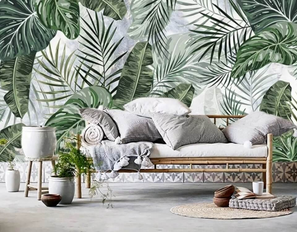 ветви пальмы принт для бесшовных обоев.