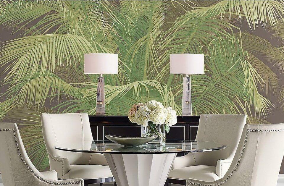 обои пальмовая чаща принт для гостиной и спальни