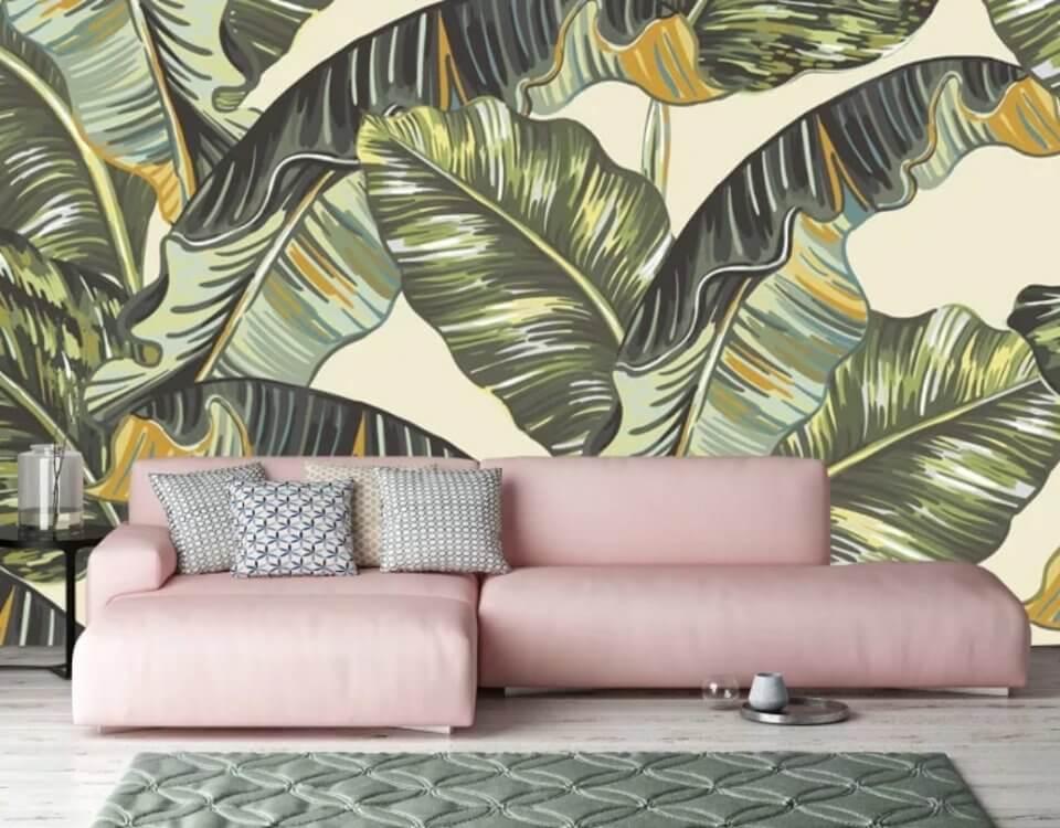 фотообои с банановыми листьями с яркими листьями. Доставка по миру
