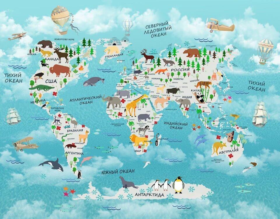 карта мира с животными для детской комнаты. Развивающая карта мира для комнаты малыша.