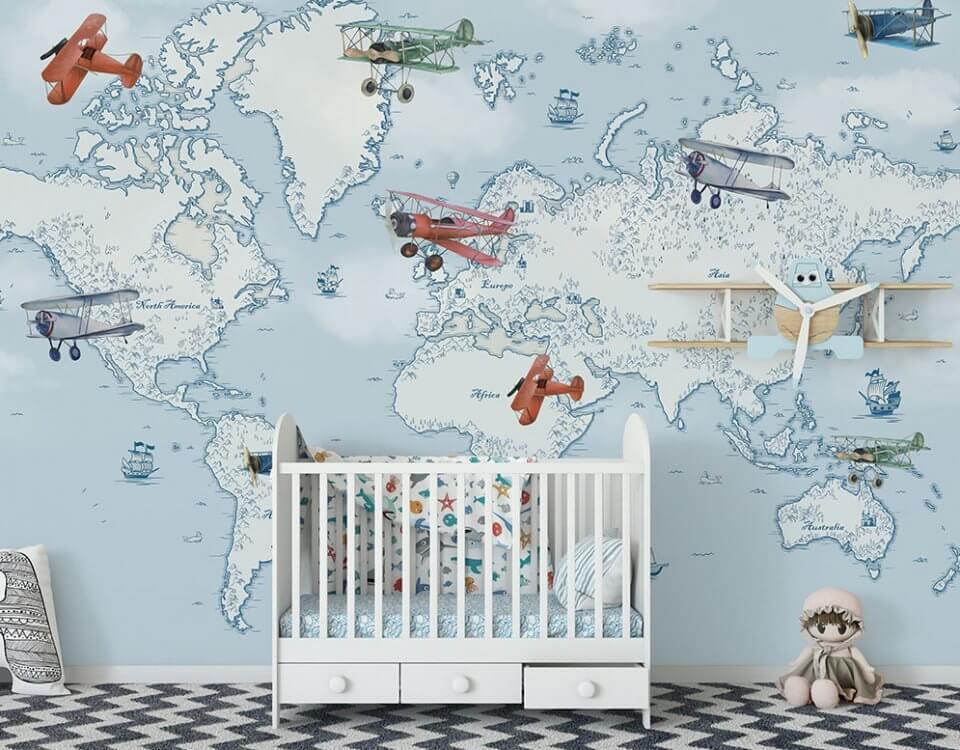 самолеты на детской карте мира. Легкий монтаж на стену. Качественные натуральные материалы. Бережная доставка до двери.