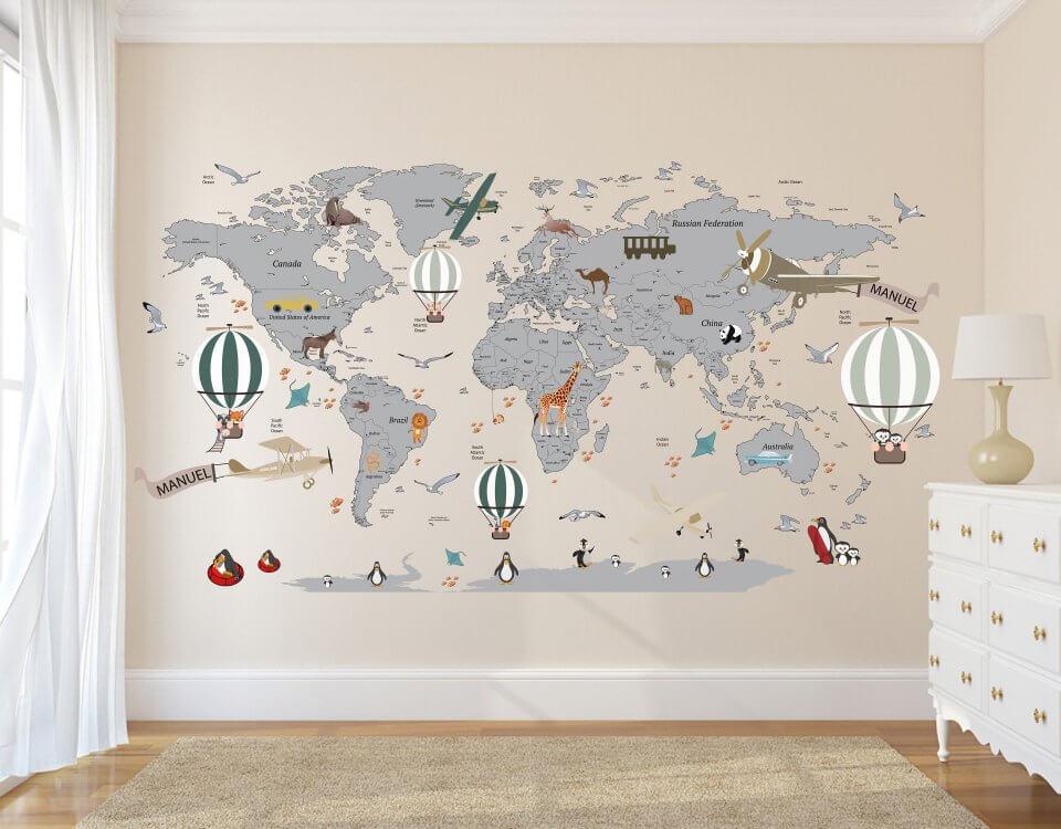 карта мира на стену для комнаты ребенка. Любые цветовые решения. Размер под ваш проект.