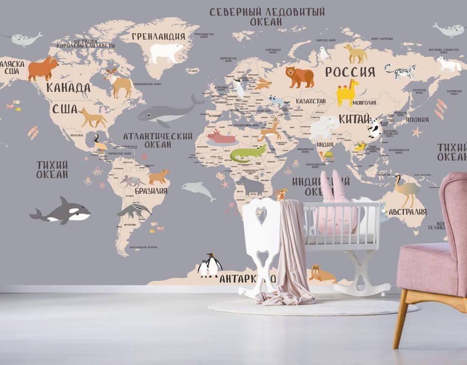 животные обои на карте мира для детской комнаты и развивающих центов