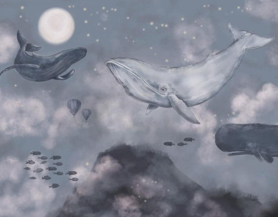 сказочный принт с китами. обои с китами и кашалотом на сером фоне
