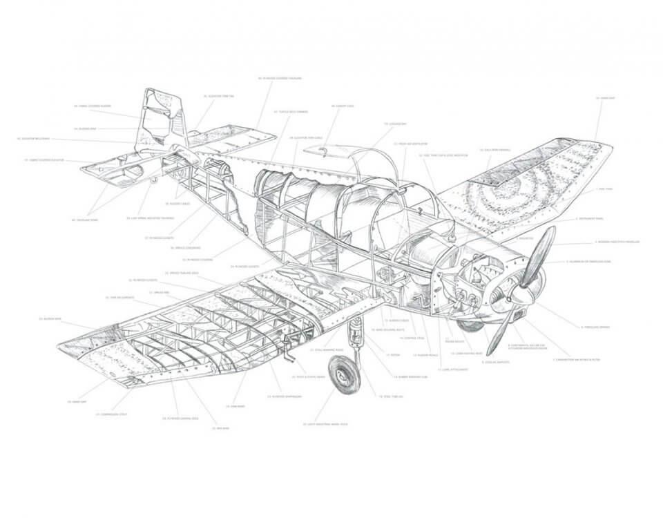 фотообои чертеж самолета