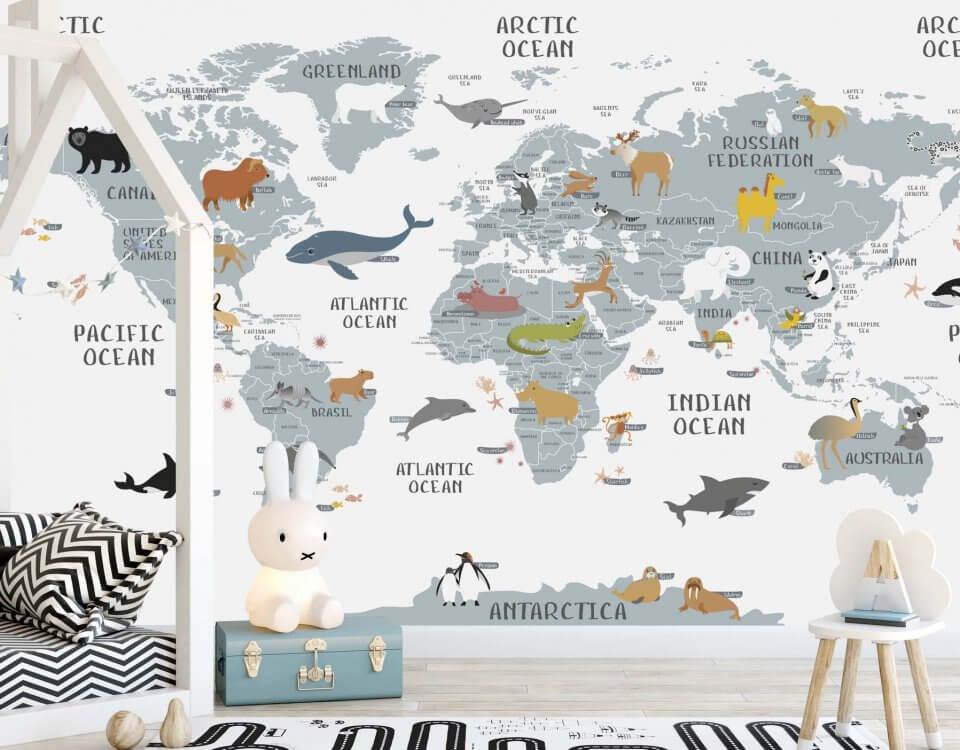 английская карта мира печать обоев для детских комнат и детских развивающих центров. Доставка по миру