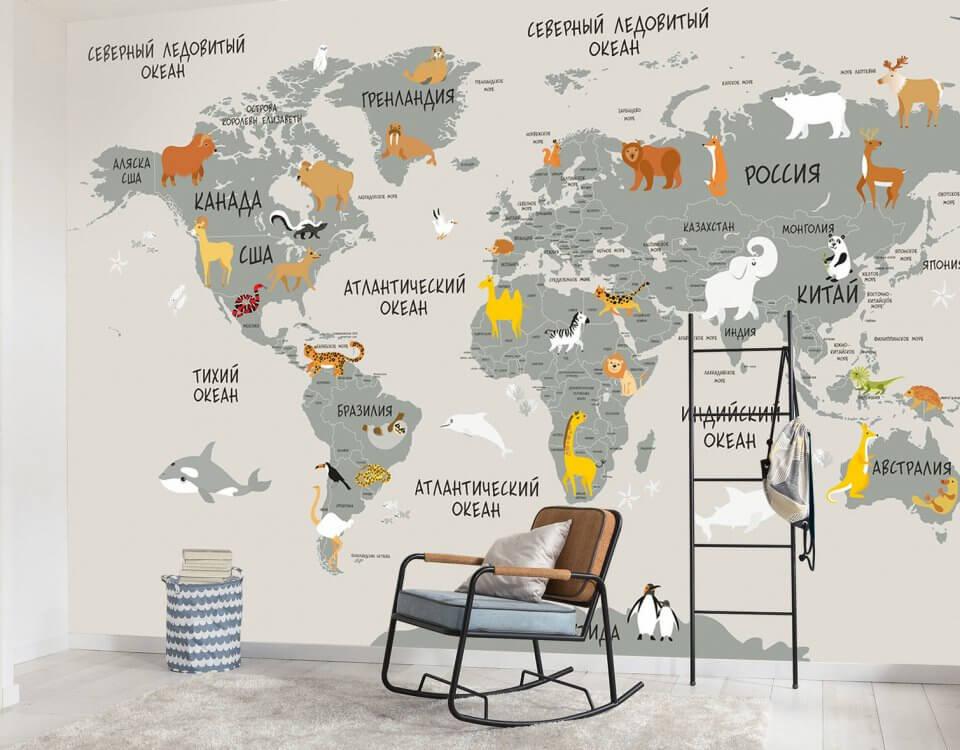 карта мира с животными для детской комнаты. Любимые карты мира для детских комнат