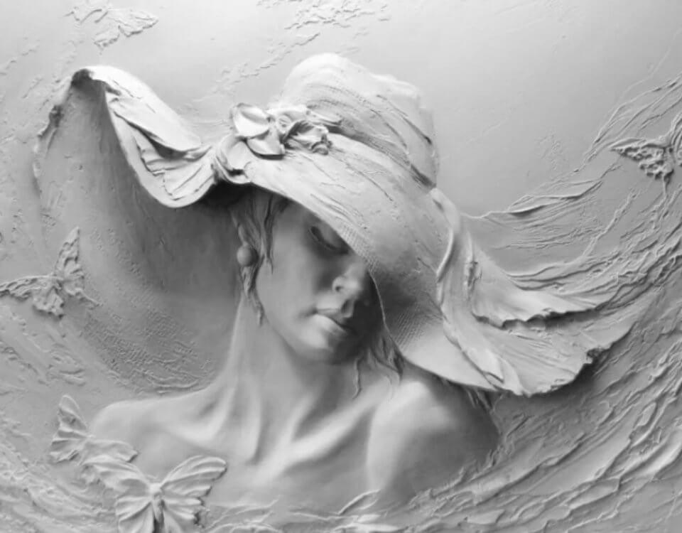 фреска силуэт женщины в шляпе. фреска на стену. Большой выбор фактур для фресок. Ручная работа. Гарантия. Доставка по миру.