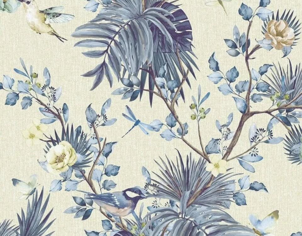 обои с нежными цветами и пальмовыми листьями. Обои в стиле шинуазри по индивидуальным размерам. Доставка по миру со страховкой.