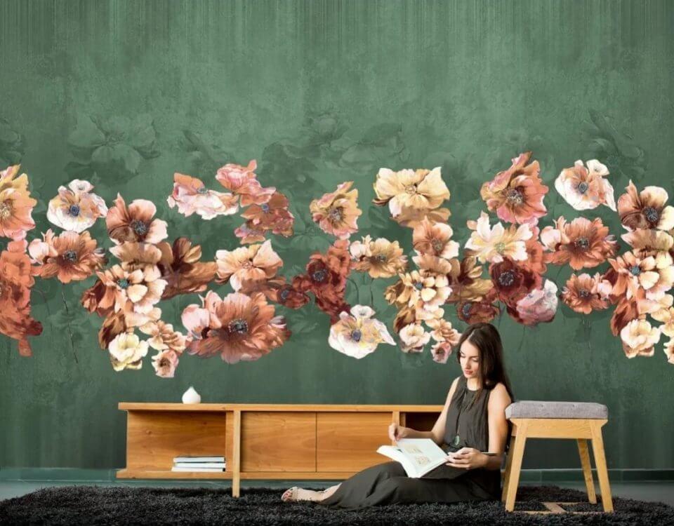 обои цветы в зале фото. фреска на стену. фрески +на стену каталог фото.фотообои с доставкой