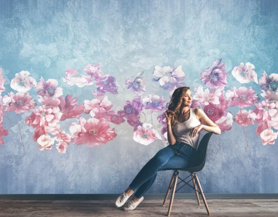 фреска на стену купить. фотообои цветы на стене фото. Заказ обоев по своим размерам. Печать 2 дня. Доставка по миру.