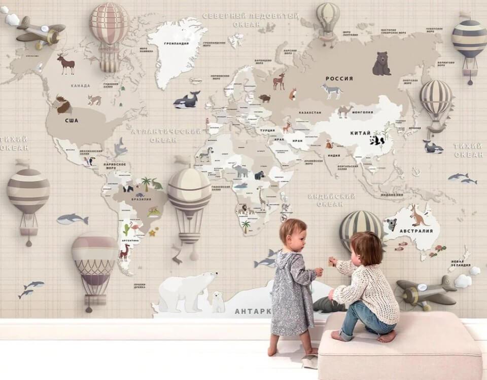 обои +в детскую комнату девочке и мальчику под своим размерам. Любая цветовая гамма. Доставка по миру.