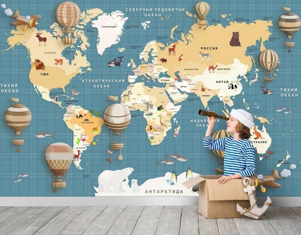 купить карта мира фотообои в детскую комнату мальчику купить