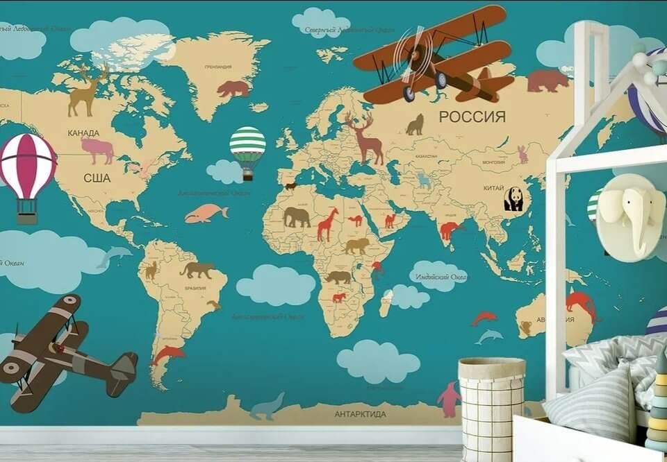 Фотообои карта мира в детскую. Бесшовные флизелиновые материалы от 1900 рублей за кв.м.