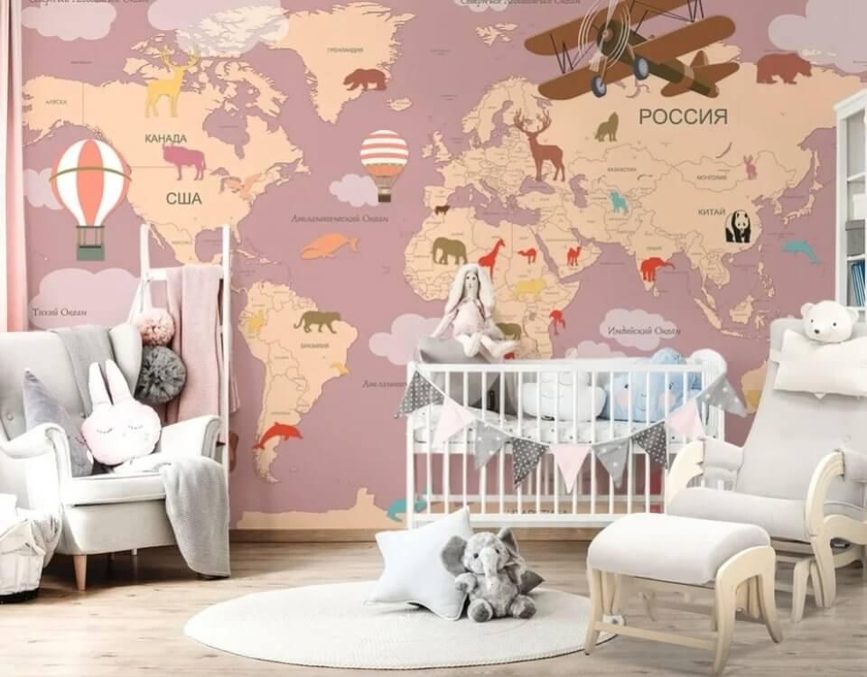 Фотообои карта мира для детей. Бесшовные флизелиновые фактуры от 1900 рублей. Доставка по миру.