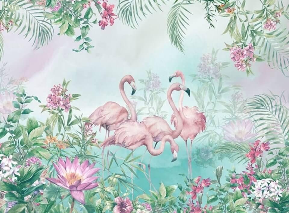 обои +с фламинго для стен купить