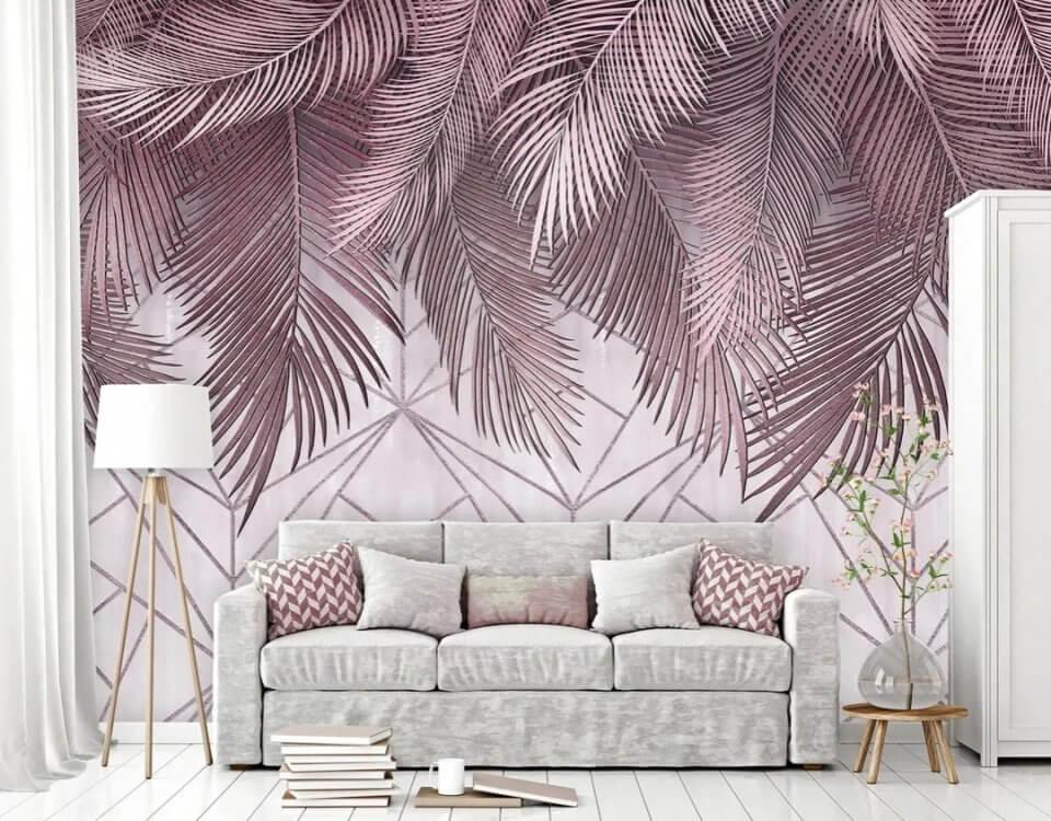 фреска на стену купить. фотообои ветви пальмы заказать по своим размерам. Большой выбор фактур. Только латексная печать. Качество 100%