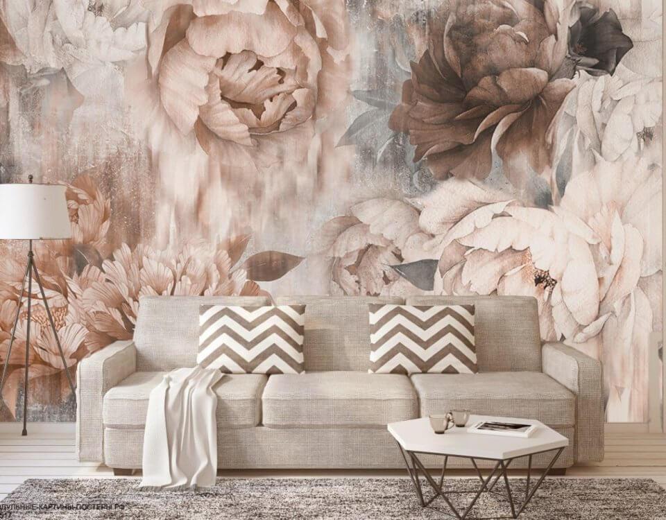обои с крупными цветами. фон для стен. фреска на стену купить. фрески цветы грозный. Печать из каталога и по вашим эскизам