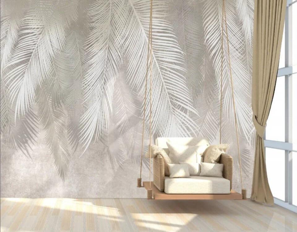 фреска ветви на стену. светлые ветви пальмы монтаж бои пальмовые ветви грозный. заказать фотообои по своим размерам. Доставка по миру