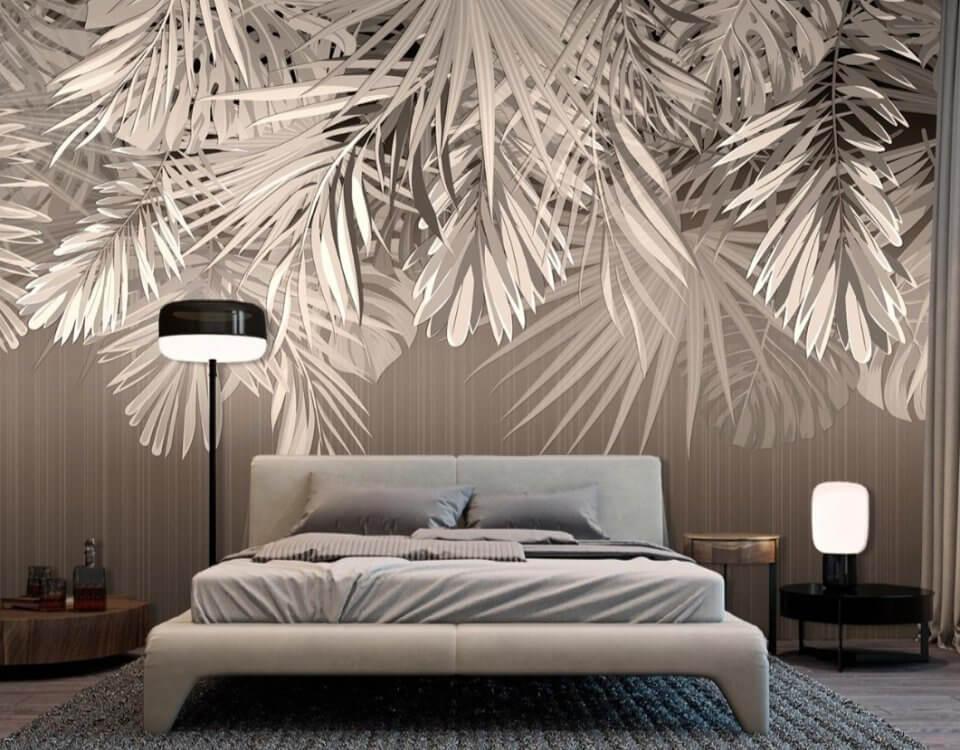 спальня +с обоями +с листьями