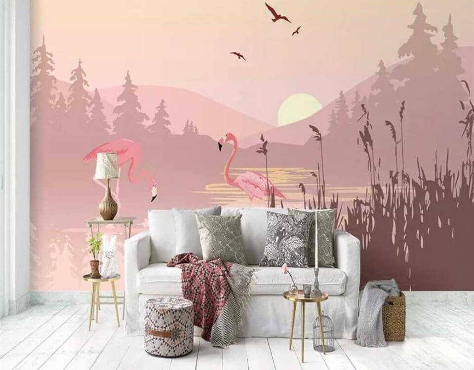 фреска на стену купить. фотообои с фламинго в интерьере. Большая коллекция принтов с фламинго для печати. Бесшовные фактуры. Флизелиновые материалы.