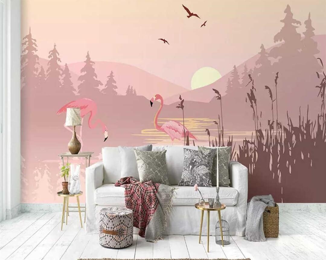 обои с фламинго в интерьере. Большая коллекция принтов с фламинго для печати. Бесшовные фактуры. Флизелиновые материалы.