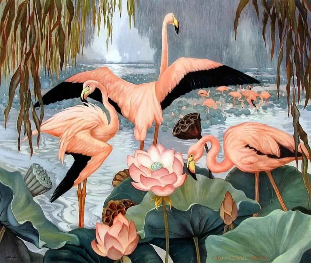фотообои розовый фламинго. Большой каталог авторских принтов с фламинго. Отрисовка с нуля. Цветопроба. Доставка по миру