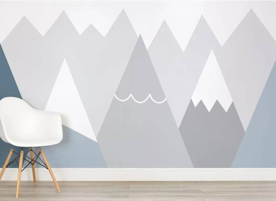 серые обои в детской комнате. Подбор и отрисовка изображений под ваш дизайн проект. Латексная печать. Доставка