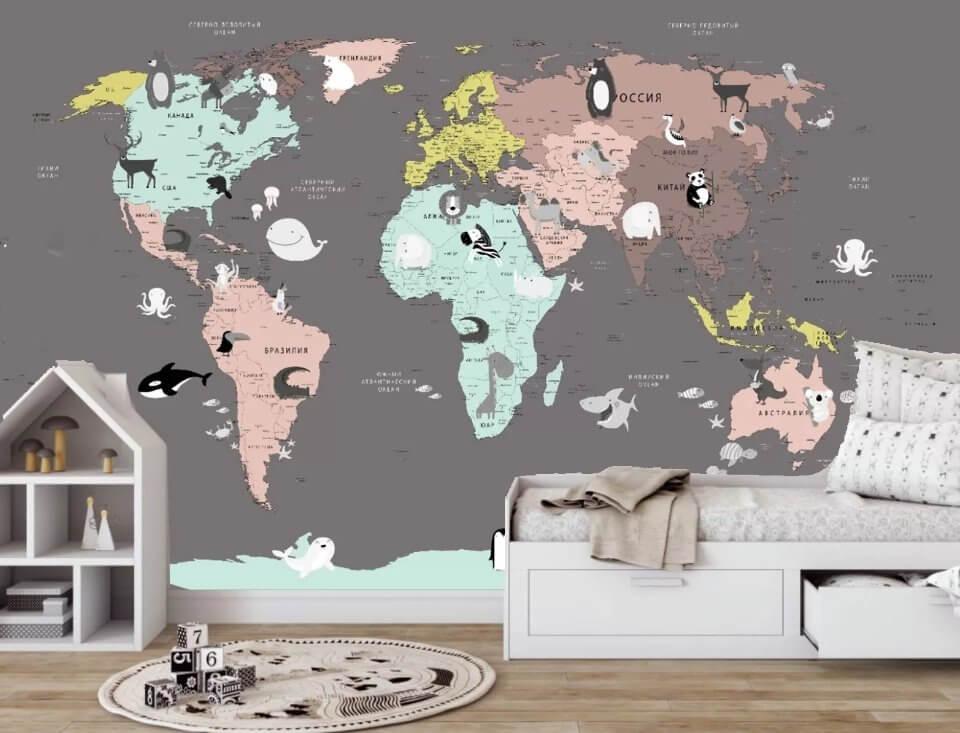 купить обои карта мира для детских стен в комнату. фреска карта мира детская купить на темном фоне с животными обои